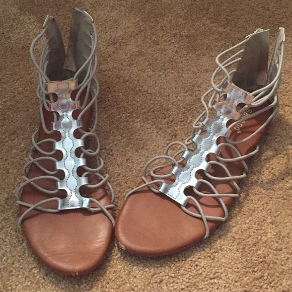6d4dc8e32c8f BAMBOO Shoes - Bamboo strappy silver sandals